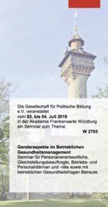 """Programmtitelseite Akademie Frankenwarte """"Genderaspekte im Betrieblichen Gesundheitsmanagement"""